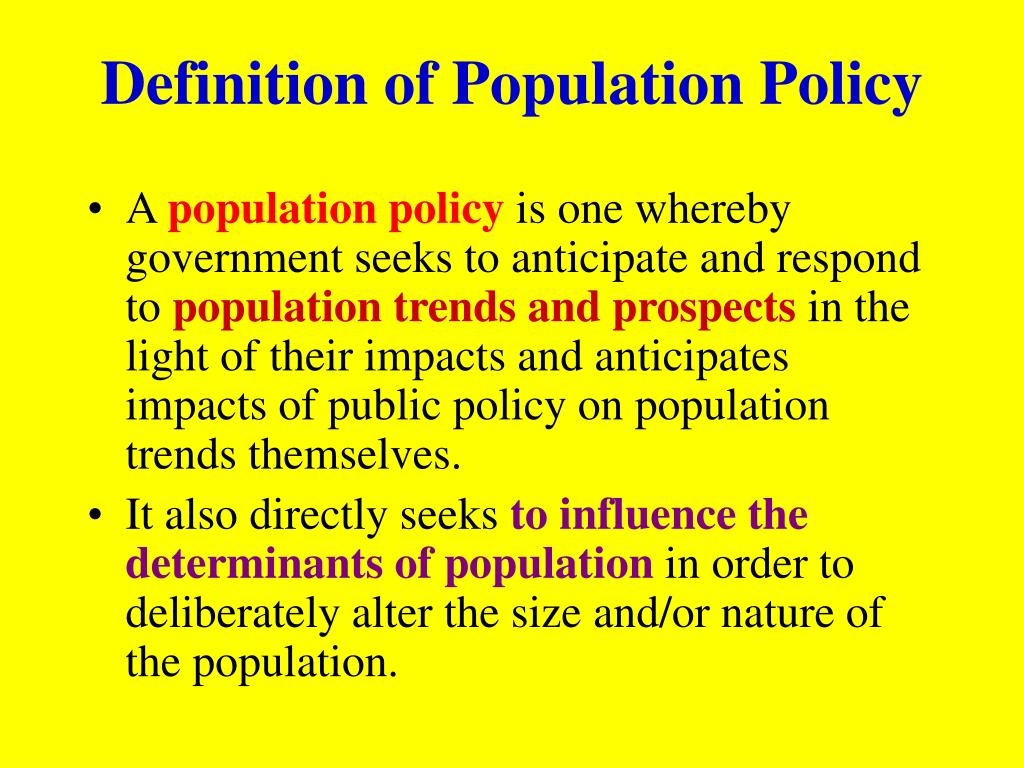 Definition of Population Policy