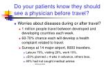 do your patients know they should see a physician before travel