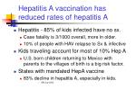hepatitis a vaccination has reduced rates of hepatitis a