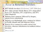 fever in returned travelers
