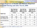 final diagnoses of deaths and illnesses reported in qars during and after travel 2006