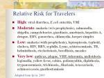 relative risk for travelers