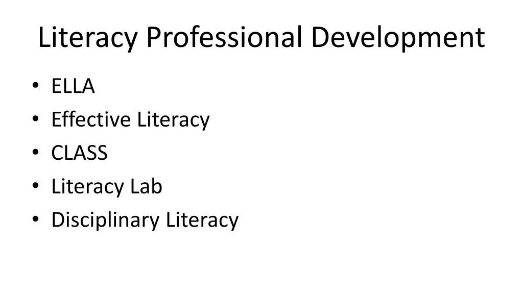 Literacy Professional Development
