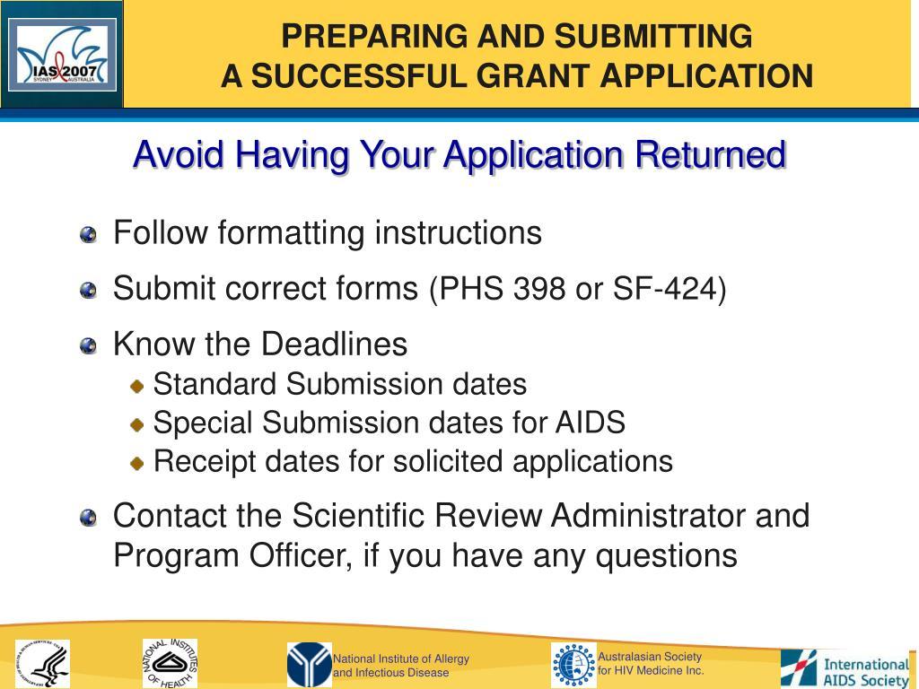 Avoid Having Your Application Returned