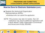 must be done for electronic submission cont