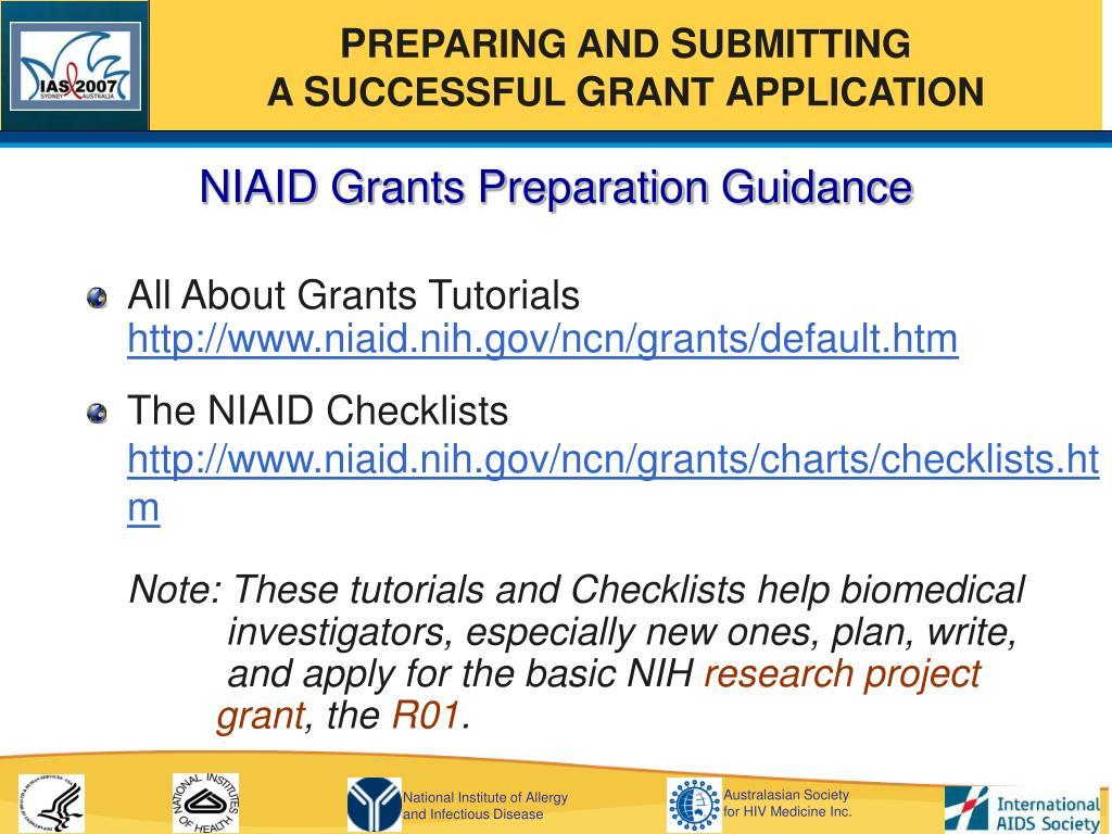 NIAID Grants Preparation Guidance