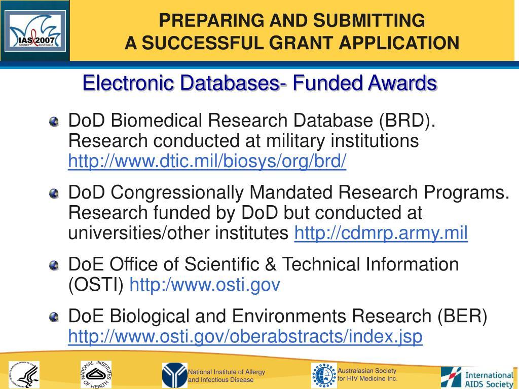 Electronic Databases- Funded Awards