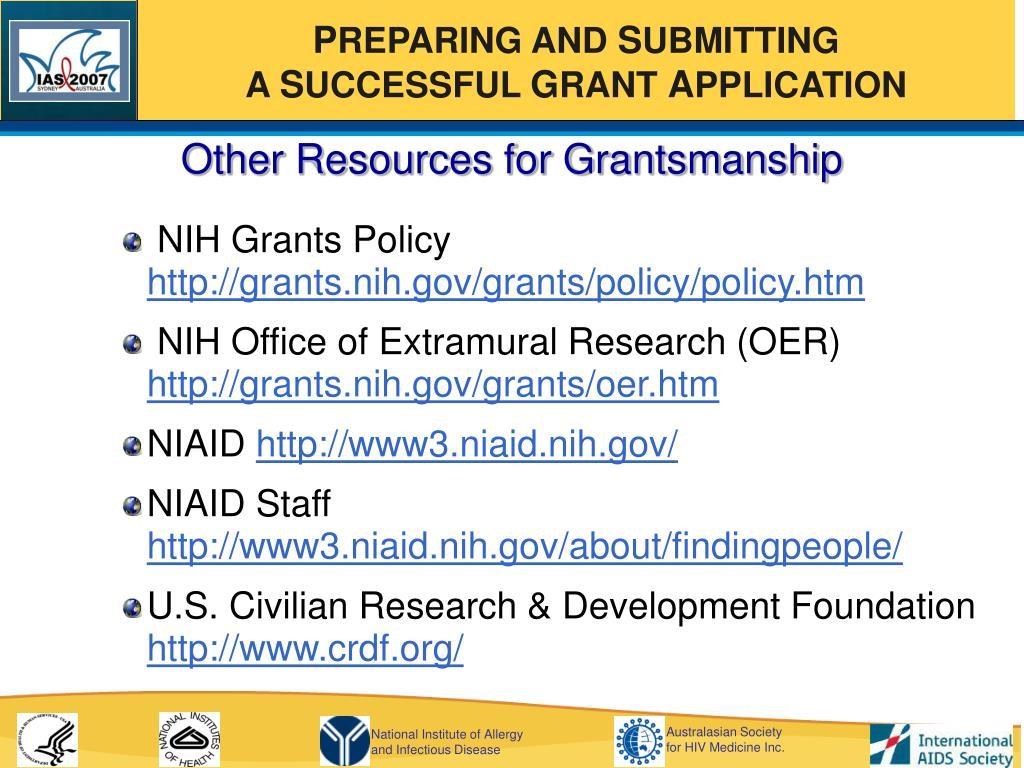 Other Resources for Grantsmanship