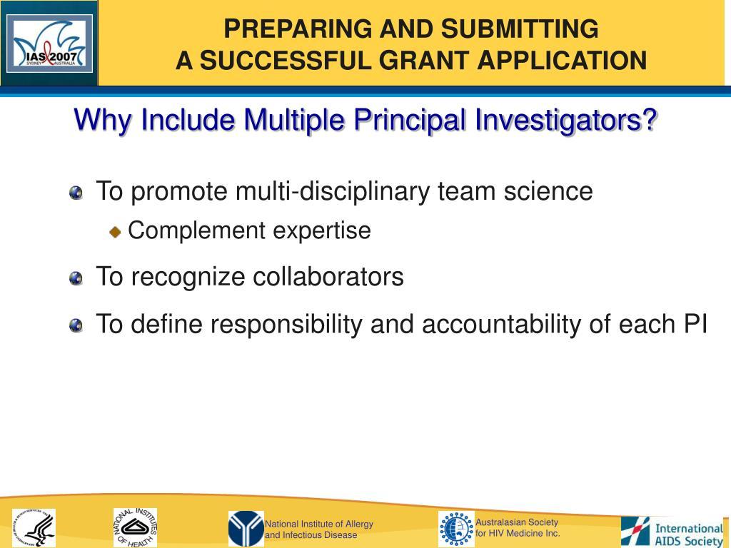 Why Include Multiple Principal Investigators?