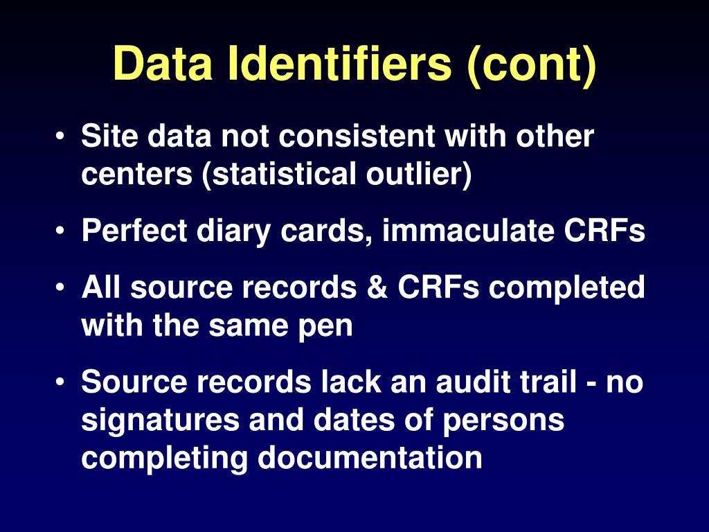 Data Identifiers (cont)
