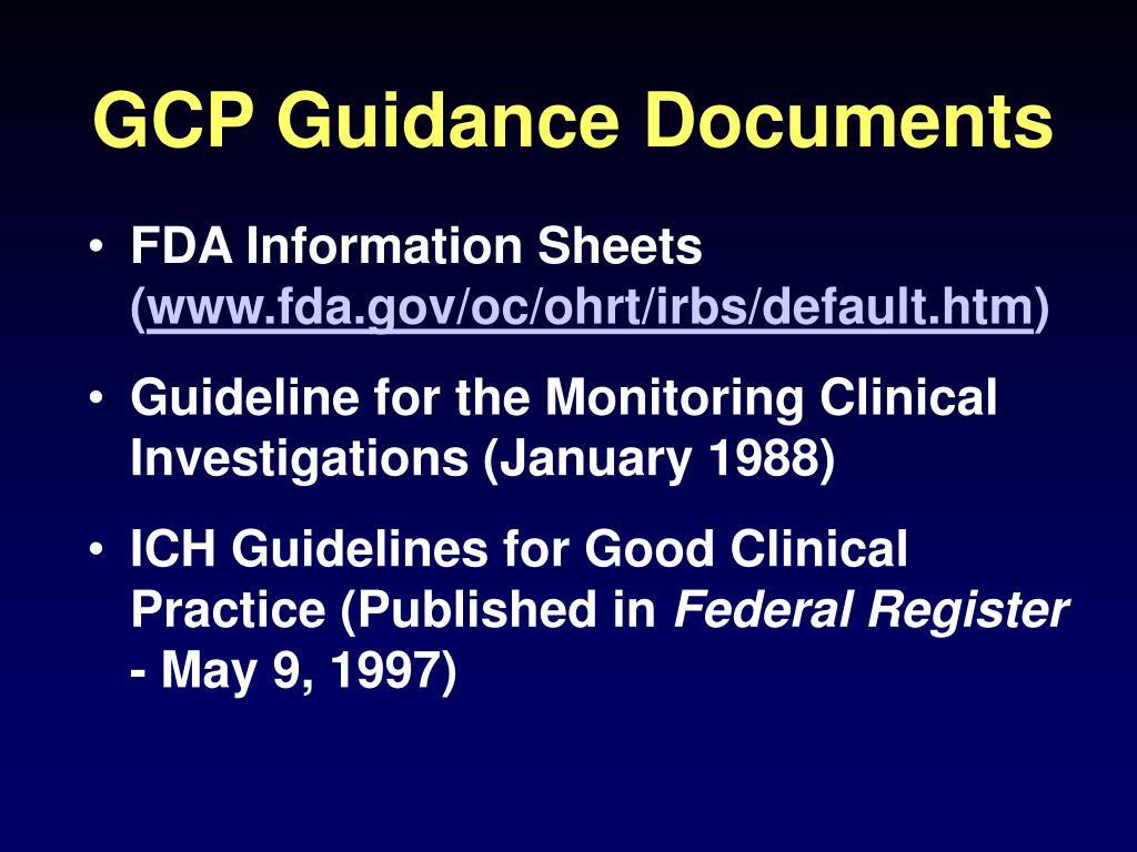 GCP Guidance Documents