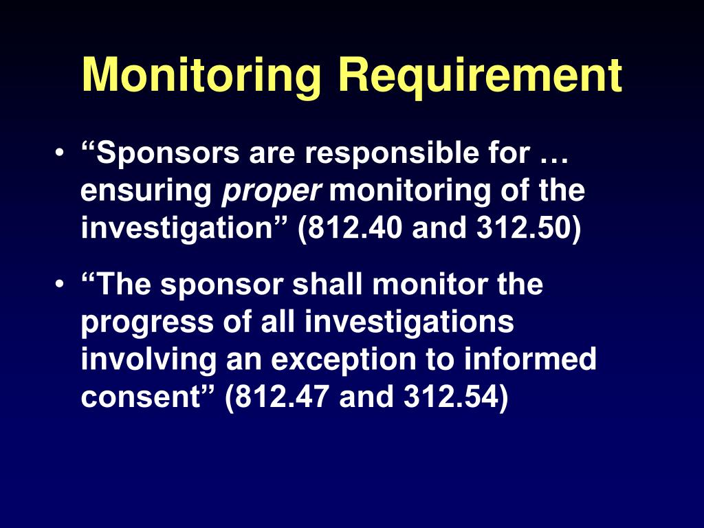 Monitoring Requirement