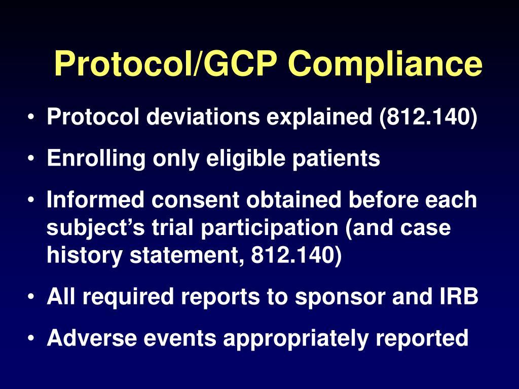 Protocol/GCP Compliance