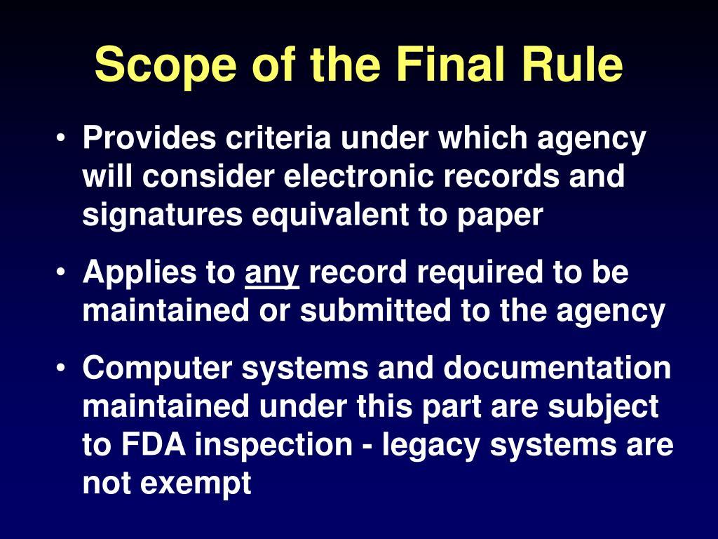 Scope of the Final Rule