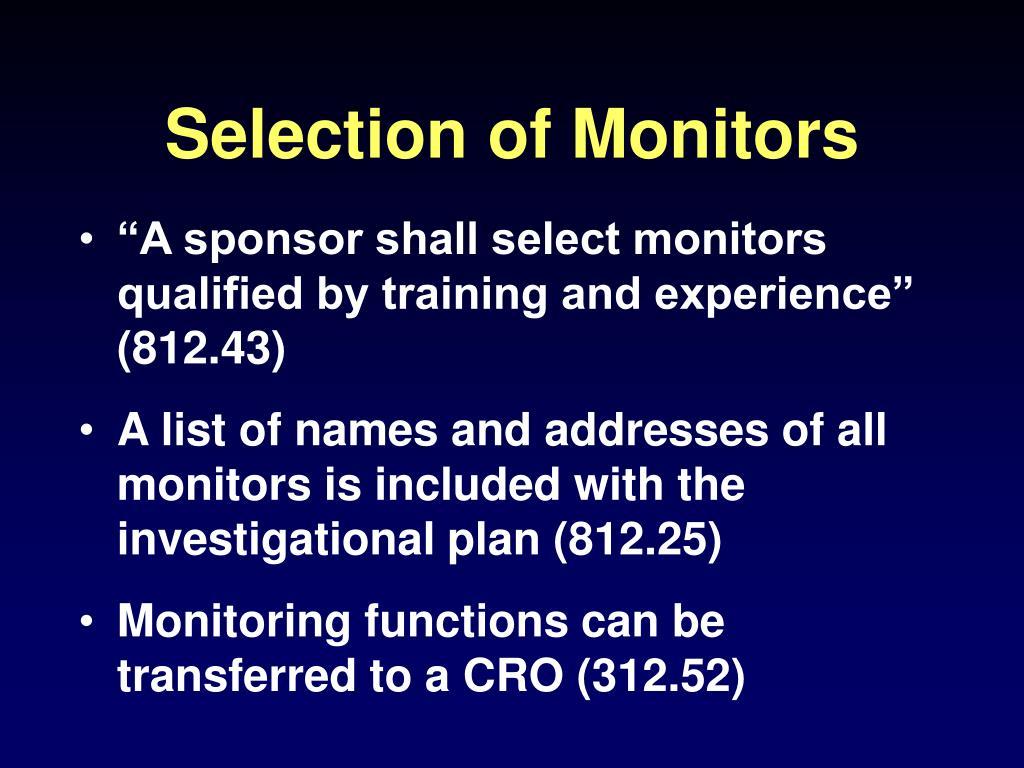 Selection of Monitors