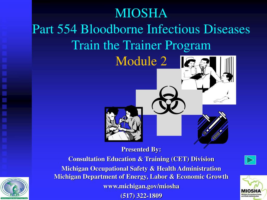miosha part 554 bloodborne infectious diseases train the trainer program module 2 l.