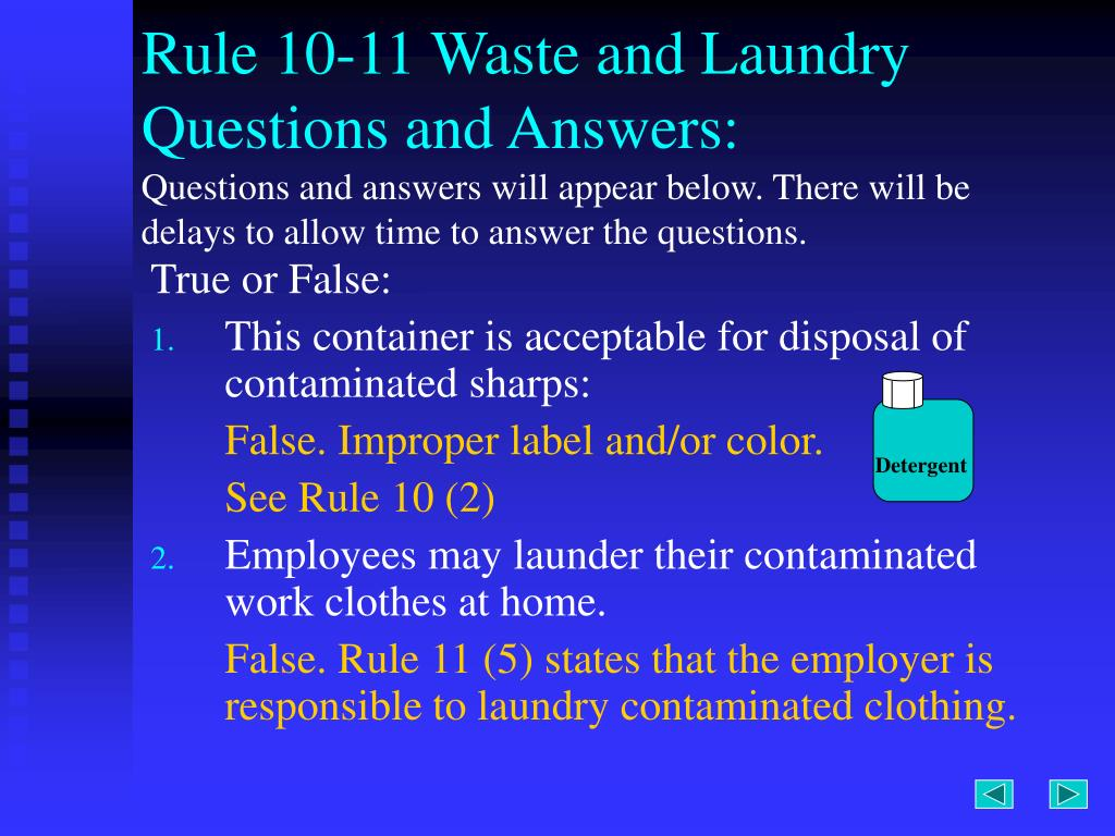 Rule 10-11 Waste and Laundry