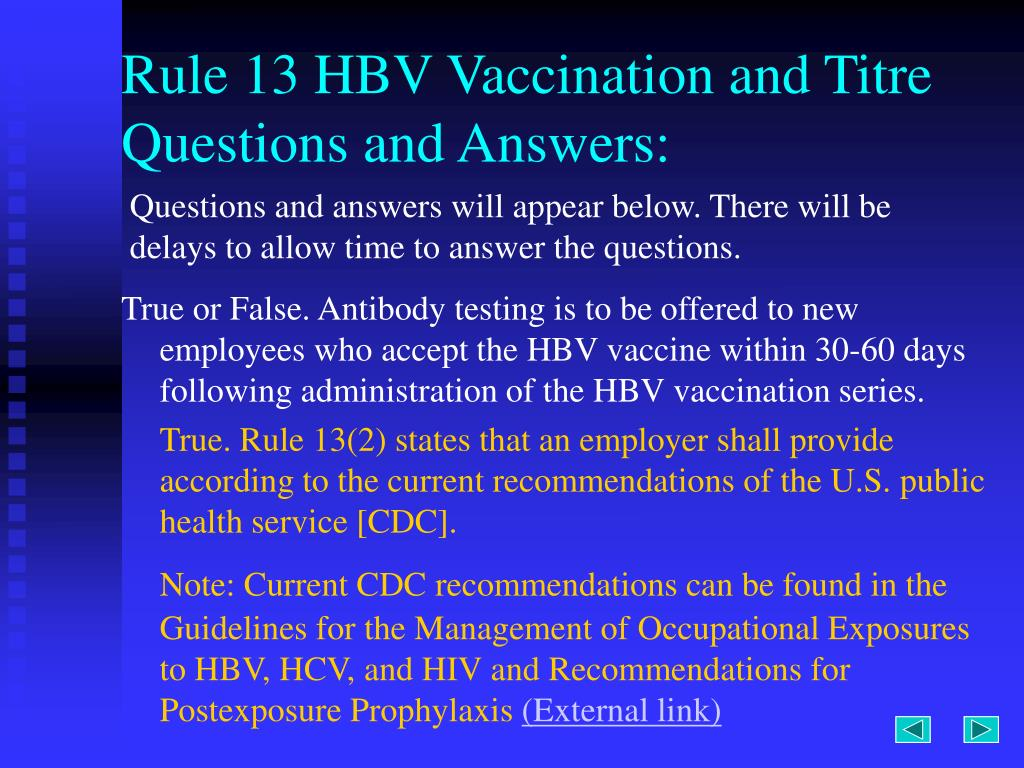 Rule 13 HBV Vaccination and Titre