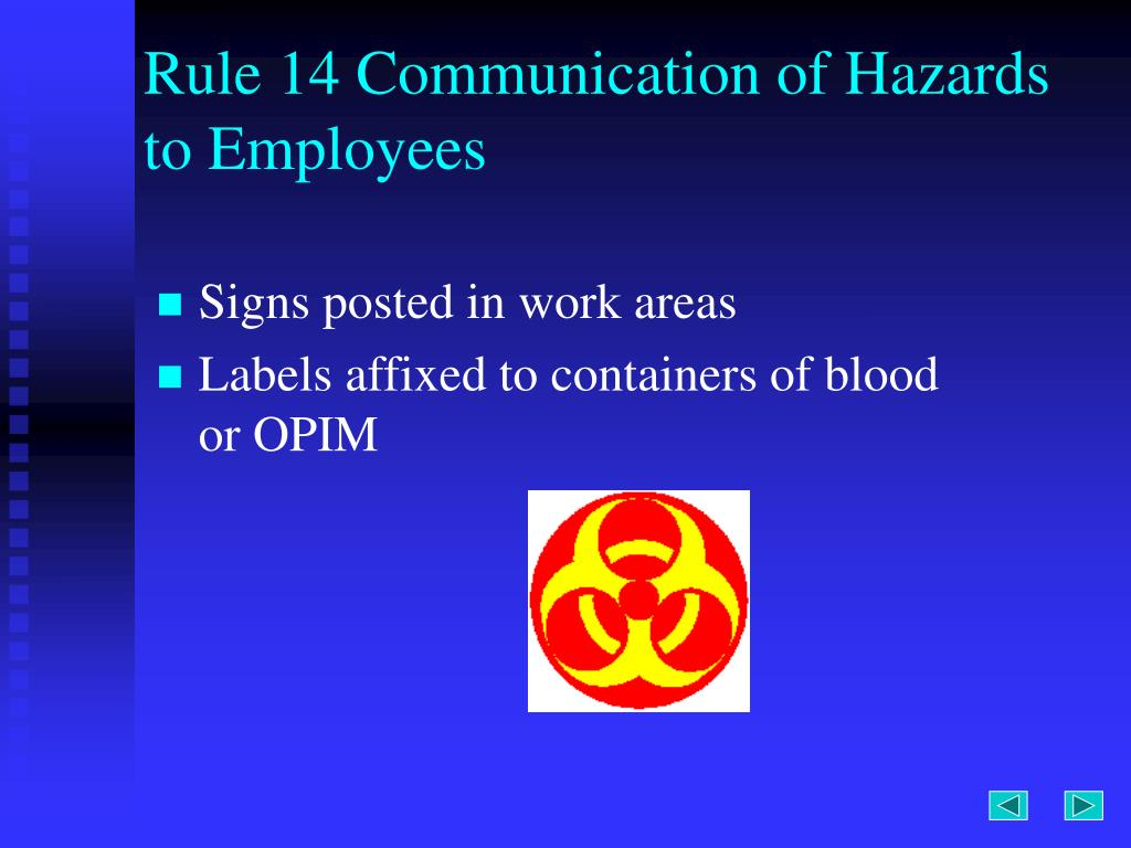 Rule 14 Communication of Hazards to Employees