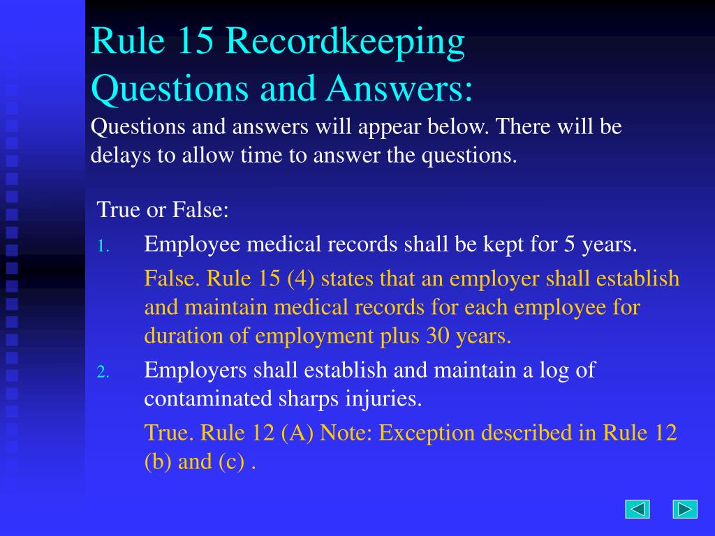 Rule 15 Recordkeeping