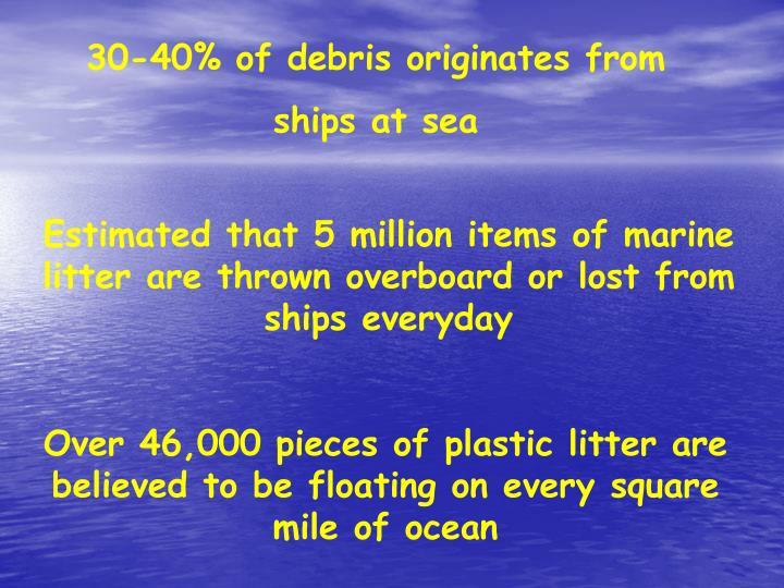 30-40% of debris originates from