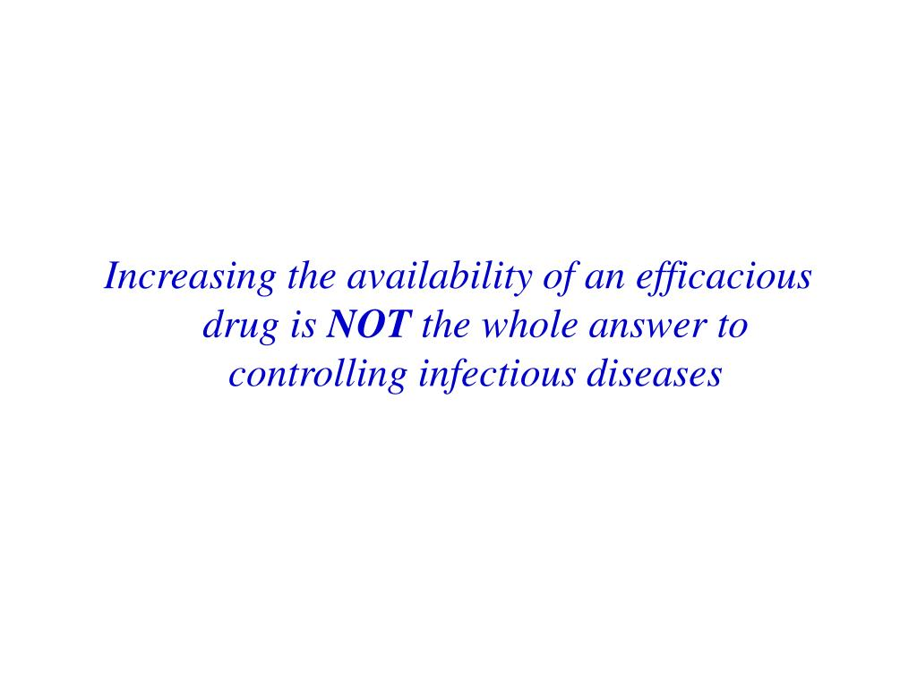 Increasing the availability of an efficacious drug is