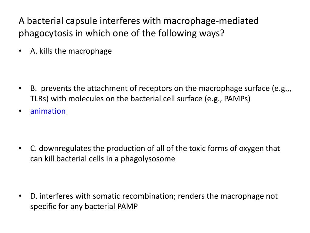 A bacterial capsule interferes with macrophage-mediated phagocytosis in which one of the following ways?