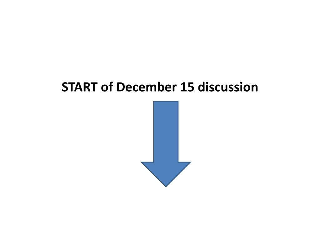 START of December 15 discussion