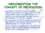implementing the concept of prevention