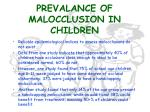 prevalance of malocclusion in children
