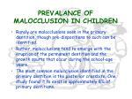 prevalance of malocclusion in children27