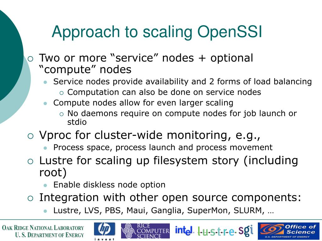 Approach to scaling OpenSSI
