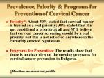 prevalence priority programs for prevention of cervical cancer8