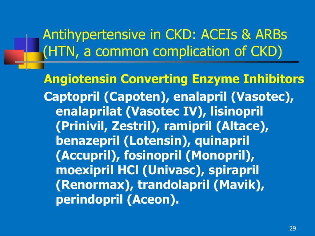 Antihypertensive in CKD: ACEIs & ARBs
