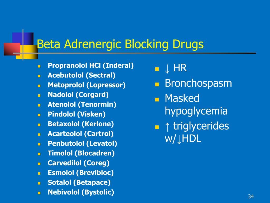 Beta Adrenergic Blocking Drugs