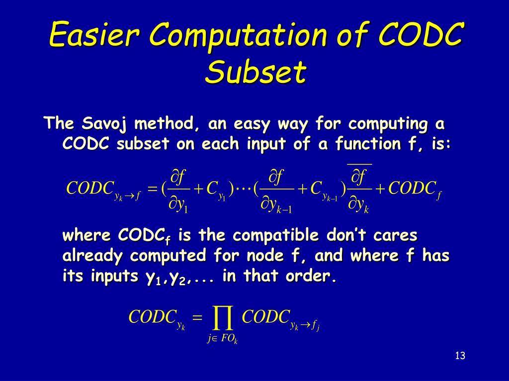 Easier Computation of CODC Subset