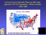 cervical cancer mortality rates by sea age adjusted 1970 us population white females 1950 1998