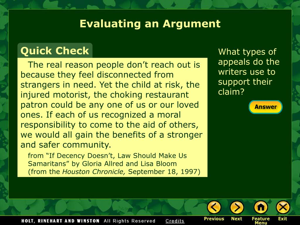 Evaluating an Argument