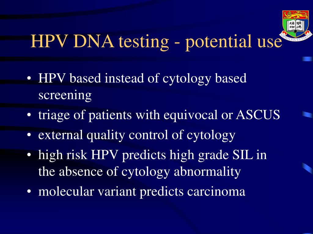 HPV DNA testing - potential use