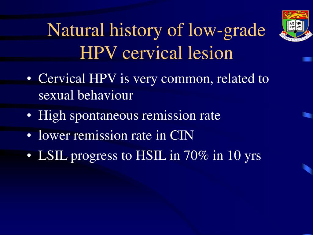 Natural history of low-grade HPV cervical lesion