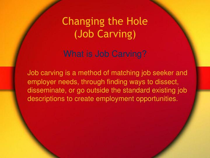 Changing the hole job carving