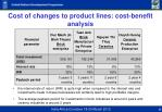 cost of changes to product lines cost benefit analysis