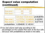 expect value computation continued