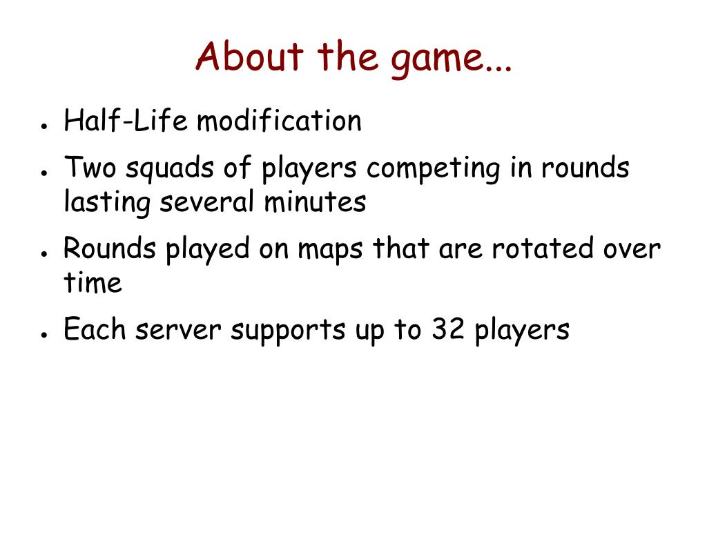 About the game...
