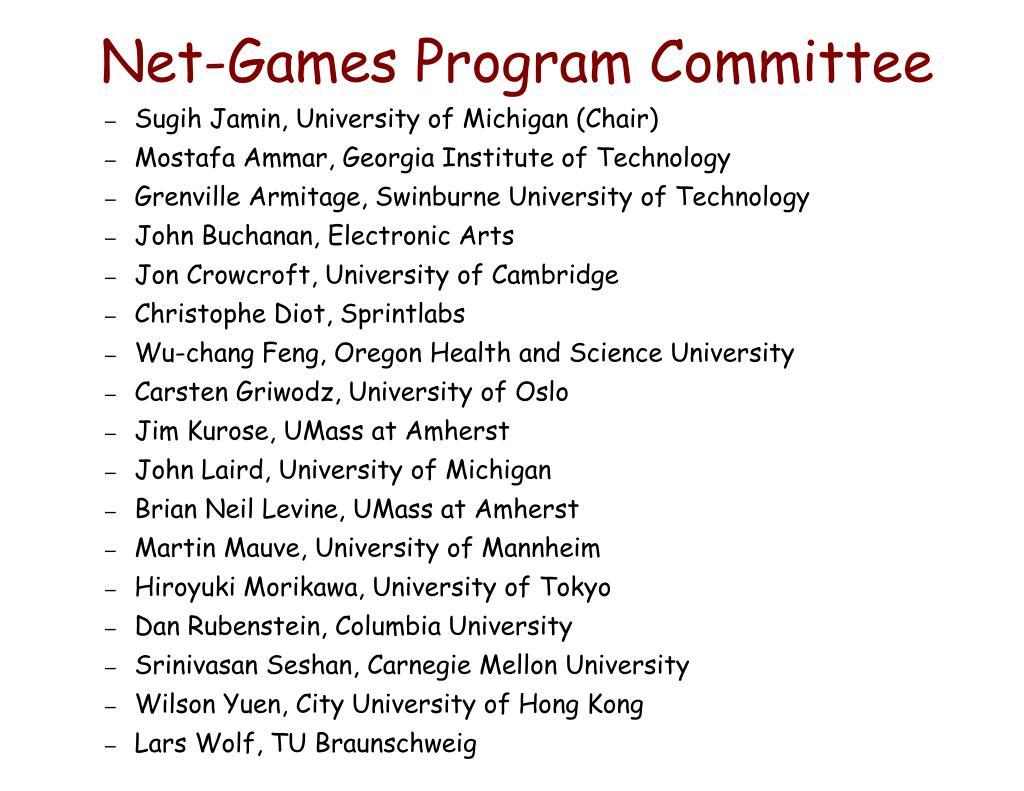 Net-Games Program Committee