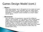 games design model cont