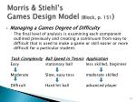 morris stiehl s games design model block p 151
