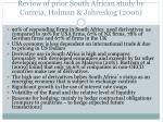 review of prior south african study by correia holman jahreskog 2006