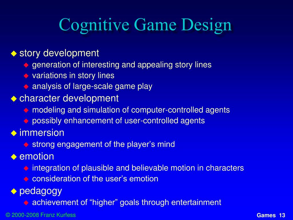 Cognitive Game Design