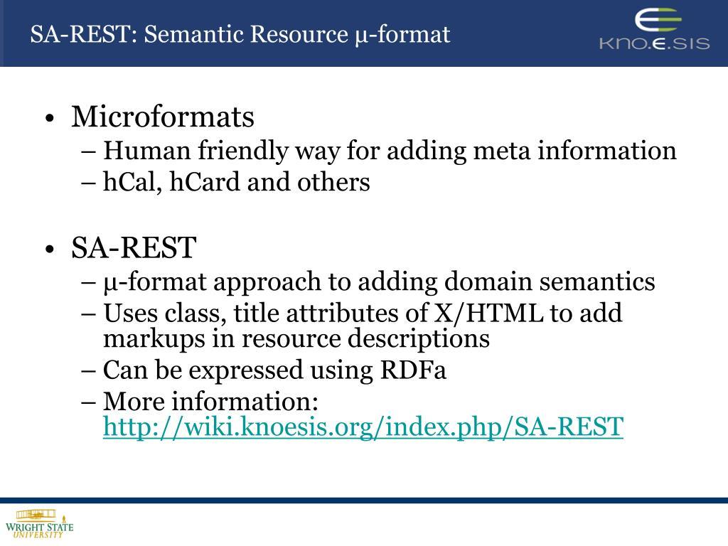 SA-REST: Semantic Resource μ-format